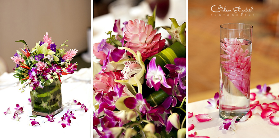 tropical exotic reception floral centerpiece purple orchids and pink ginger flowers image