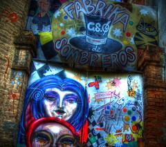 Fabrika Sombreros (merlune) Tags: color colour hat graffiti pentax seville sombrero hdr fabrika photomatix jamesforsyth hatfactory k10d pentaxk10d pentaxart merlune sombrerofabrika jamesmerlinforsyth