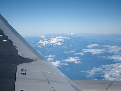 the view of Japan South Alps from airplane