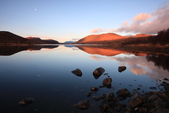 Droma Reflections. (Gordie Broon.) Tags: winter light sky moon mountains nature clouds reflections landscape geotagged photography scotland scenery rocks alba scenic escocia calm reservoir hills explore highland schottland ullapool westerross ecosse scottishhighlands anteallach rossshire westernhighlands lochdroma aultguish canoneos40d dirriemore saariysqualitypictures bestcapturesaoi gordiebroon