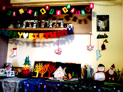 xmas deco (Art Fountain) Tags: xmas house tree colors cards rainbow gingerbread craft felt gifts presents christmasdecoration tabledeco