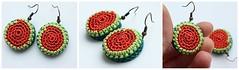 Crocheted earrings in a form of watermelon (Julia Kolbaskina) Tags: fruit knitting handmade crochet craft jewelry jewellery watermelon earrings knitted crocheted earrigns