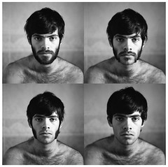 Self Portrait Quadtych (RobSalmon) Tags: uk portrait england white black 120 6x6 film me portraits self square beard bathroom four for diy fuji time photos britain 10 salmon rob bronica dev 400 shaving stupid neopan hull pushed chops sq 800 mutton sqa quadtych id11 phoography