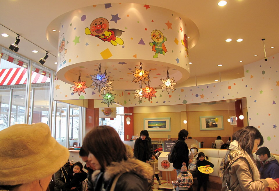 Inside the Anpanman restaurant.