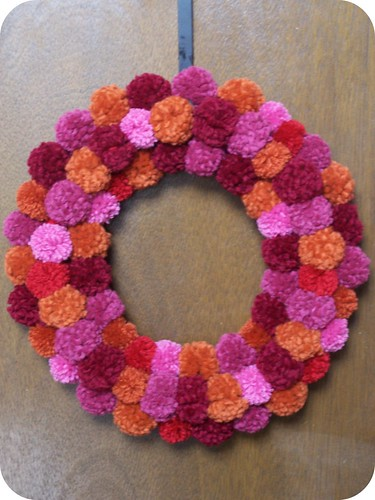 yarn pom-pom wreath