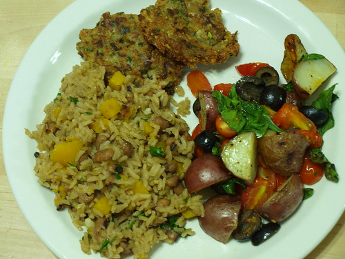 Caribbean Rice, Squash, and Peas + Zucchini Walnut Fritters + Roasted Baby Potatoes with Spinach, Olives, and Grape Tomatoes