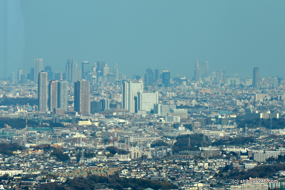 Tall structuresof Tokyo  visible in background.