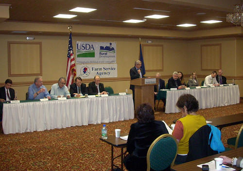 Alaska Rural Development State Director Jim Nordlund (at podium) speaks during a USDA-Sponsored Jobs Forum in Fairbanks
