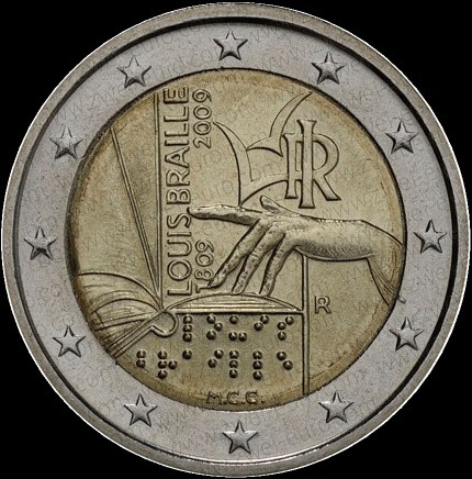 2 Euro Taliansko 2009, L.Braille