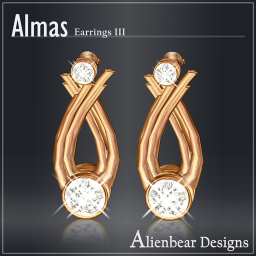 Almas gold earrings III white