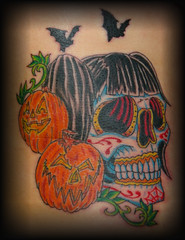 halloween sugar skull (Billy Whaley Tattoo) Tags: color halloween tattoo pumpkin dead skull day jackolantern bat sugar billy losmuertos whaley
