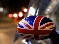 Oval Jack (Chris Saulit) Tags: california rain night austin mirror berkeley bokeh mini cooper unionjack kittredge