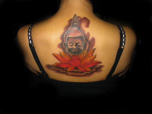 Buddha head tattoo, lotus tattoo, thai buddha tattoo, buddha head sitting in