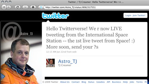 Astro_TJ - a Twitter message from space