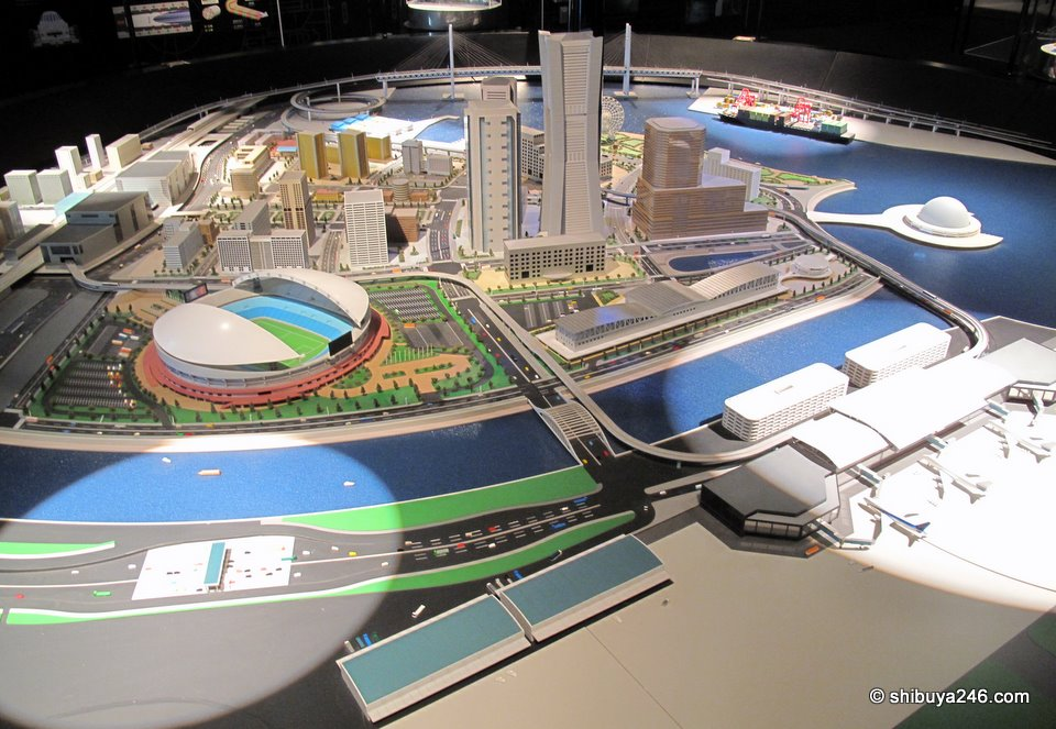 A model of future city and technologies that Mitsubishi plays a role in. This model looks a bit like Yokohama Minato Mirai area, but the airport was a surprise!!