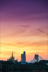 Beautiful sky with city silhouette at sunset (Dmitry Mordolff) Tags: life street travel winter light sunset sky urban sunlight house snow building tower skyline architecture night skyscraper outdoors office site twilight construction downtown cityscape exterior view traffic russia crane dusk moscow district horizon cities scene panoramic aerial illuminated steam business tall residential cloudscape kremlin fume