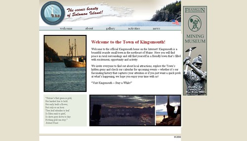 Screen Shot of the Main Page of the Kingsmouth Home Page