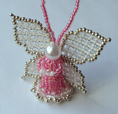 Handwoven Glass Bead Angel (fivefootfury) Tags: irish angel golden wings ornament stpatricksday littleangel angelwings greenandgold tinyangel angelfigure