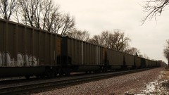 Southbound Union Pacific / Wisconsin Electric Power Company empty unit coal train. Glenview Illinois. January 2010.
