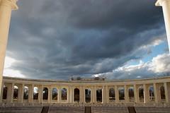 Arlington National Cemetery Amphitheatre (jackandphyl) Tags: cemetery grave clouds washingtondc memorial arlingtonnationalcemetery amphitheater darkclouds veterans changingoftheguard