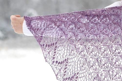 Echo Flower Shawl - wild violet silk
