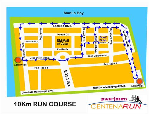 PWU Marathon 10k Route Map