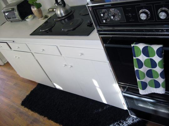 black and white galley kitchen