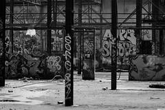 Poutres Apparentes (Jeff Heurteur) Tags: street old urban blackandwhite bw white streetart black france art abandoned industry jeff monochrome photoshop canon french graffiti blackwhite ruins paint industrial noir noiretblanc decay tag neglected nb ruine adobe abandon graff exploration derelict blanc industrie indus usine vieux 2010 destroy industial lightroom fabrique urbex industriel abandonn friche 50d uzine desafect desaffect jeff7 heurteur gaupillat desaffrect httpwwwjeff7fr wwwjeff7fr jeffheurteur httpwwwfacebookcompagesjeffheurteur250598878535 jeff7fr httpwwwfacebookcompolydorfrancepagesjeffheurteur250598878535 httpwwwjeffheurteurcom jeffheurteurcom wwwjeffheurteurcom