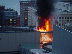 Fire in Municipal Building, 2003 (Seattle Municipal Archives) Tags: seattle fire smoke flames fires publicsafetybuilding disasters 2000s seattlemunicipalarchives