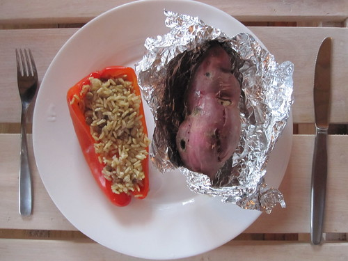 Stuffed red peper and baked yam