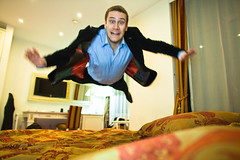Business class (ole) Tags: paris france self germany hotel fly costume jump bed bedroom europe unique room suit dortmund bedjumping stanbridge finsbury ole suitup eole bedjump dopplr:stay=2bn1