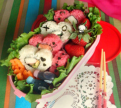 Valentine's Bento 2010/ Bento #45 (Laura Bento) Tags: pink food sushi lunch day rice heart shaped box valentines beets bento