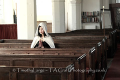 Hayley - Quiet time (Hi, I'm Tim.) Tags: woman church girl beauty face youth robe prayer pray goth young teen cloak pew teenage timlarge tacraftphotography tacrafts