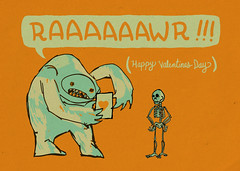 raaaaaawr (Iain Burke) Tags: orange colour green illustration photoshop hearts sketch comic drawing cartoon doodle rawr valentines iain monsters skeletons february burke valentinesday 2010 february14 shockvalue forivy february2010 iainburke octopocalypse iainvandoucheberg vandoucheberg