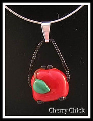 Cherry Coin Purse Pendant (Cherry Chick Jewelry) Tags: cherry necklace cherries jewelry handcrafted lampwork beaded artisan pendant artisanjewelry lampworkbeads cherryearrings cherrynecklace lampworkjewelry cherrychick cherrychickjewelry