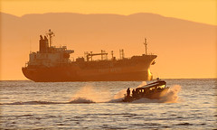 big & small (JuttaMK) Tags: sunset vancouver boat ship bc northshore englishbay mauekay
