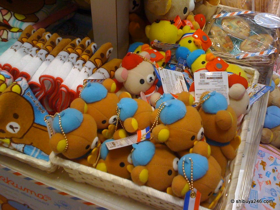 Tiny Rilakkuma plushes all waiting for someone to come and pick them up.