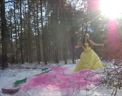 Princess Frostine (My Affliction) Tags: pink light snow yellow snowflakes rainbow woods dress lace makeup frosty prom lensflare we