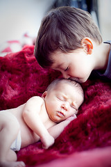 Teo kisses Noah (Cea tecea) Tags: noah baby teo newborn 13days familygetty2010