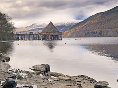 The Crannog (tricycledteenager) Tags: landscape scotland perthshire kenmore tayside touristattraction crannog lochtay snowcappedmountains scottishcrannogcentre southlochtayroad