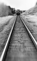 Train (amy.herbs) Tags: blackandwhite bw canada lines lensbaby train bc britishcolumbia tracks engine railway windermere composer columbiavalley lensbabycomposer