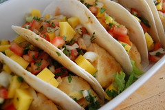 Fish Tacos with Mango Salsa (jpellgen (@1179_jp)) Tags: food usa fish cooking minnesota dinner lunch nikon midwest tomatoes tacos mexican chef mango 1855mm nikkor salsa cod cilantro tortilla mn picodegallo d40