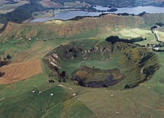 Above Rotorua New Zealand crater formed by meteorite 1991 image
