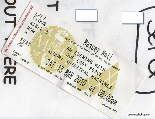 Our Lady Peace Concert Ticket at Massey Hall