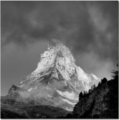Hallelujah Matterhorn (Toni_V) Tags: sunset sky bw alps monochrome clouds square schweiz switzerland blackwhite europe zermatt matterhorn alpen wallis hdr valais cervin d300 cervino photomatix 7exp superaplus aplusphoto dsc0355 magicsquarepoetry