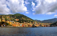 Waiting for sailing time (klausthebest) Tags: city sea summer sky italy panorama cloud colour bravo italia cityscape village liguria sail camogli seascpae mywinners dragondaggerphoto
