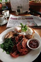 Cafe 153, Great Ocean Road, Australia (misterpulcri) Tags: breakfast mushrooms bacon toast tomatoes australia victoria sausages eggs greatoceanroad spinach table3 holidaysnaps theaustralian apollobay poached fullenglish tomatorelish cafe153 irrawarrasourdoughbread