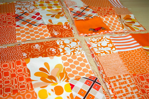 Orange & White Crazy 9 patch blocks