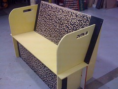 Swirly designed bench (phidauex) Tags: bench furniture burningman benches cnc signmaking pandoras cncrouter playatech burningman2009 bm09 pandorasfixitshoppe