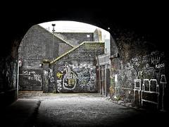 Pedley Street Arch (louisberk.com) Tags: blackandwhite bw london monochrome graffiti arch tunnel whitechapel bricklane spitalfields gf1 pedleystreet lumix2017